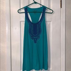 Embroidered teal and blue tank